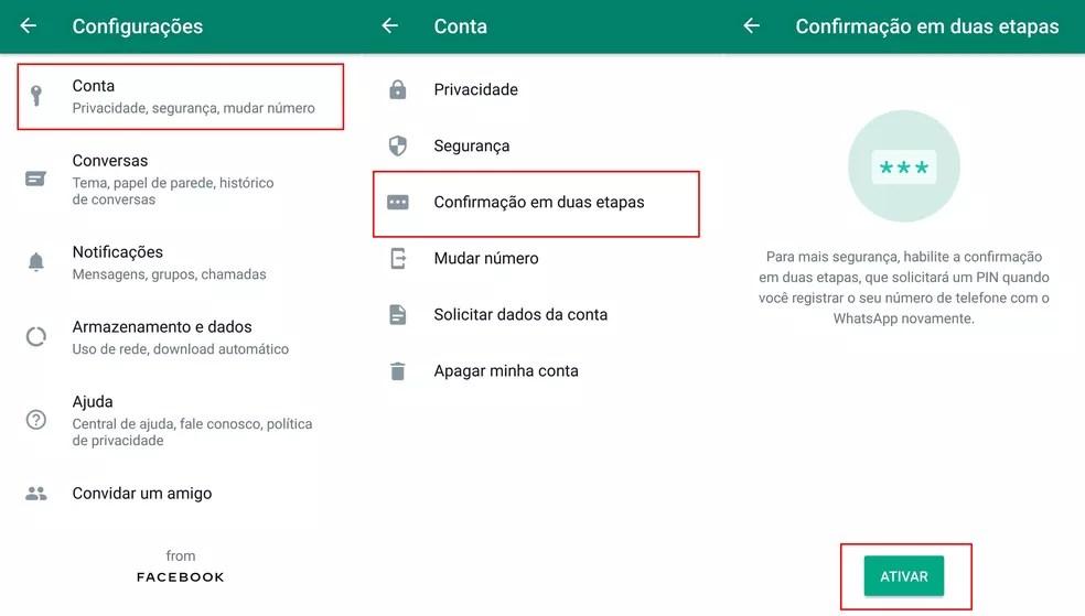 Como ativar confirmação em duas etapas no WhatsApp — Foto: Reprodução/WhatsApp