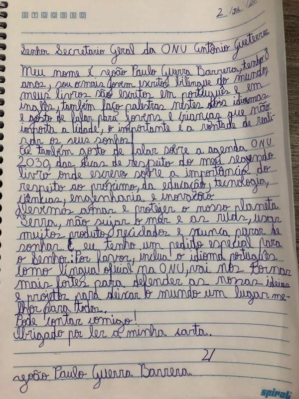 Carta do menino brasileiro João Paulo Guerra Barrera, de oito anos, pedindo a António Guterres que inclua o português na lista de línguas oficiais da ONU (Foto: Divulgação/Fernanda Calfat)