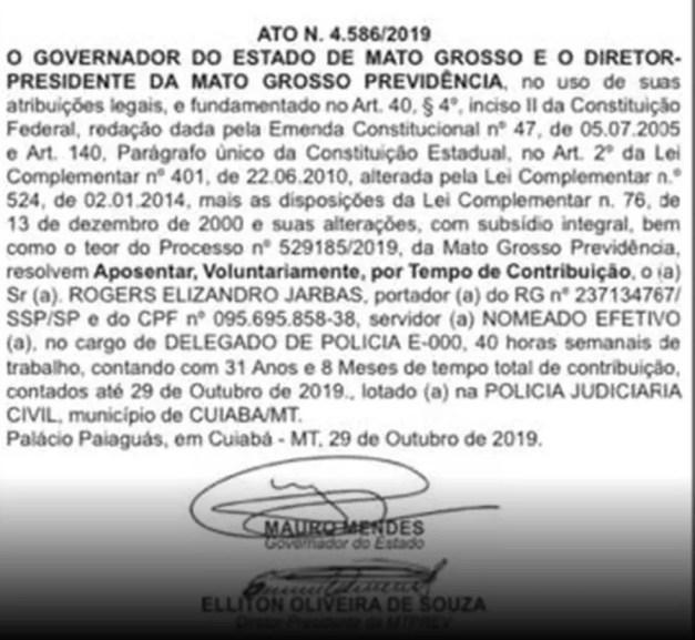Ato foi publicado no Diário Oficial — Foto: Reprodução