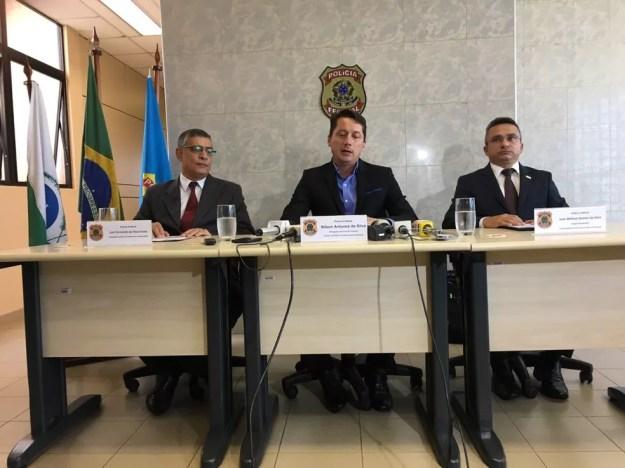 Coletiva de imprensa sobre a Operação 14 Bis é concedida nesta terça-feira (13) (Foto: PF/Divulgação)