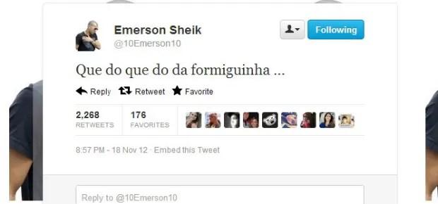 Sheik ironiza Palmeiras no Twitter (Foto: reprodução)