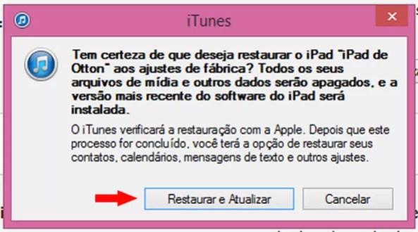 Confirmação de restaurção de iPad / iPhone / iPod (Foto: Reprodução/Otton Moura)