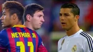 Arte Neymar, Messi e Cristiano Ronaldo (Foto: Reprodução SporTV)