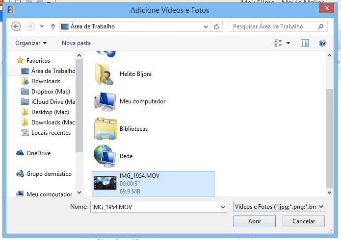 Localize o arquivo de vídeo a ser editado (Foto: Reprodução/Helito Bijora)