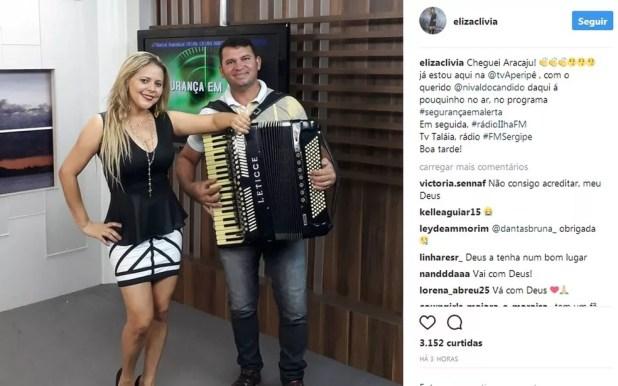 Horas antes do acidente, a cantora postou uma foto em uma rede social no estúdio de uma emissora de Aracaju (SE). (Foto: Reprodução/Instagram )