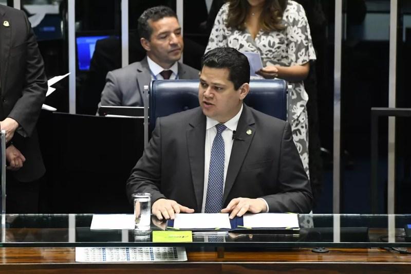 O presidente do Senado, Davi Alcolumbre (DEM-AP) — Foto: Marcos Oliveira/Agência Senado