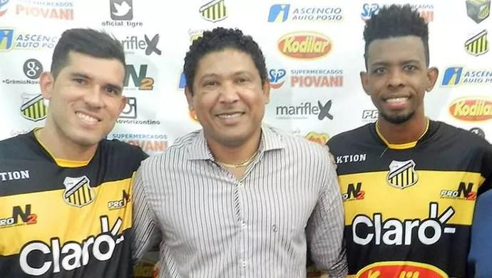 Fernando Gabriel Genilson Rocha Roberto apresentação Novorizontino (Foto: Divulgação / Novorizontino)