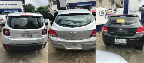 Foram apreendidos carros alugados que haviam sido vendidos em Alagoas, e um com pedido de busca e apreensão administrativa (Foto: Divulgação/GIDG PC-AL)