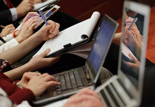 trabalho, computador, notebook, produtividade, anotações (Foto: Chip Somodevilla/Getty Images)
