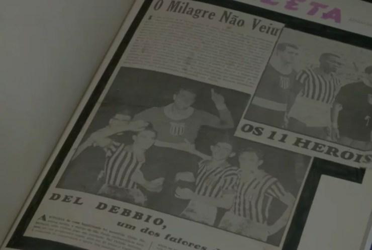 Recorte de jornal da década de 30 cita Del Debbio, ainda jogador — Foto: Reprodução SporTV