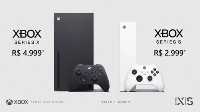 O Xbox Series X será lançado no Brasil por R$ 4.999, enquanto o Xbox Series S custará R$ 2.999 — Foto: Reprodução/Microsoft
