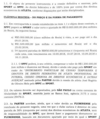 contrato entre São Paulo e Sport (Foto: Reprodução)