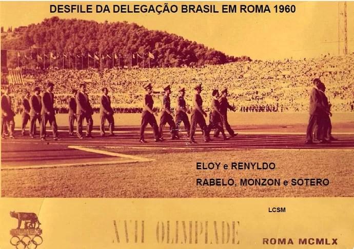 Equipe do exército na abertura dos Jogos Olímpicos de Roma (Foto: Reprodução/Arquivo de família)