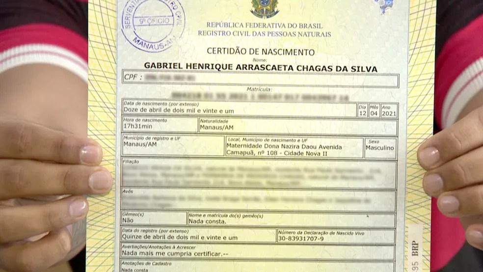 Certidão de nascimento de Gabriel Henrique Arrascaeta Chagas da Silva — Foto: Reprodução