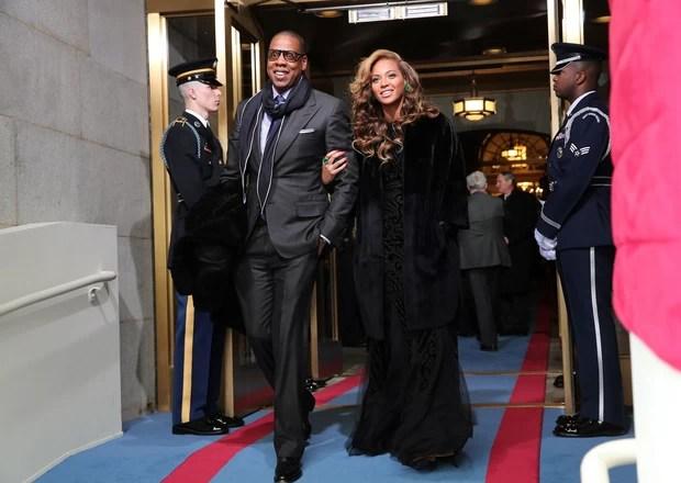Jay-Z e Beyoncé na posse de Obama (Foto: Reuters)