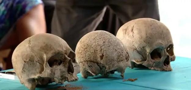 Crânios foram encontrados no piso de banheiro de casa que pertenceu a ex-ditador paraguaio — Foto: Reprodução/RPC