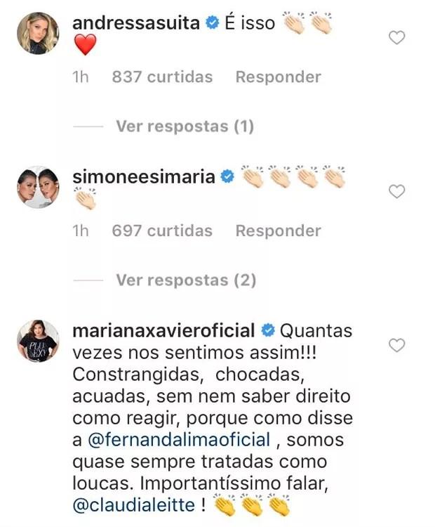 Famosas apoiam Claudia Leitte (Foto: Reprodução/Instagram)