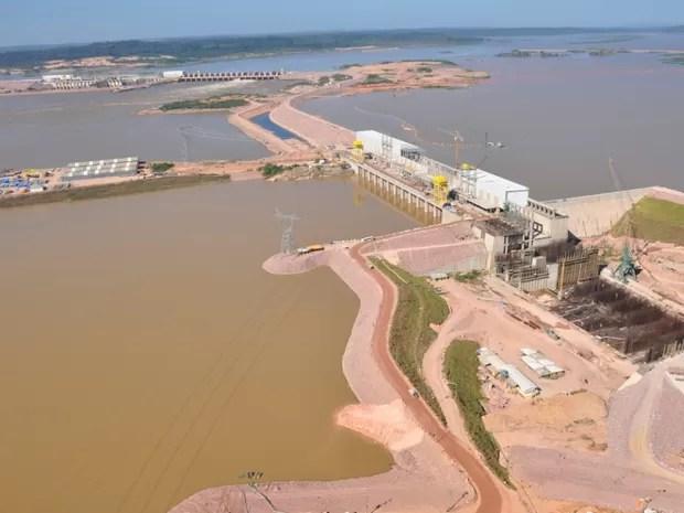 Usina Hidrelétrica Jirau, no Rio Madeira, em RO (Foto: Divulgação/ESBR)