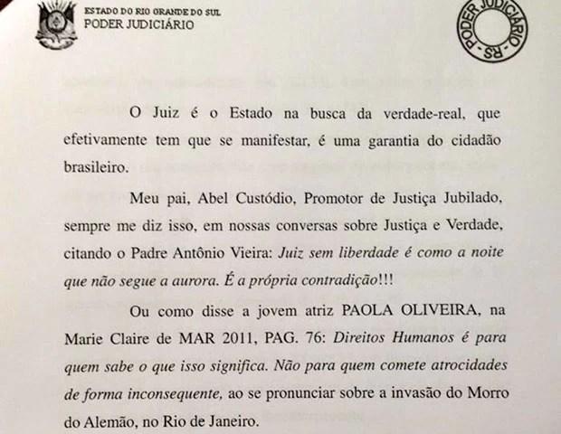 Sentença juiz Porto Alegre Paolla Oliveira (Foto: Reprodução)