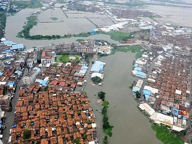 Visão aérea mostra região inundada em Shantou, na província de Guangdong, sul da China. (Foto: AFP Photo)