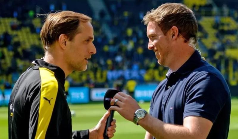 Tuchel e Nagelsmann, em um dos encontros que tiveram na Alemanha, quando Tomas dirigia o Dortmud, e Julian comandava o Hoffenheim — Foto: Bundesliga.com