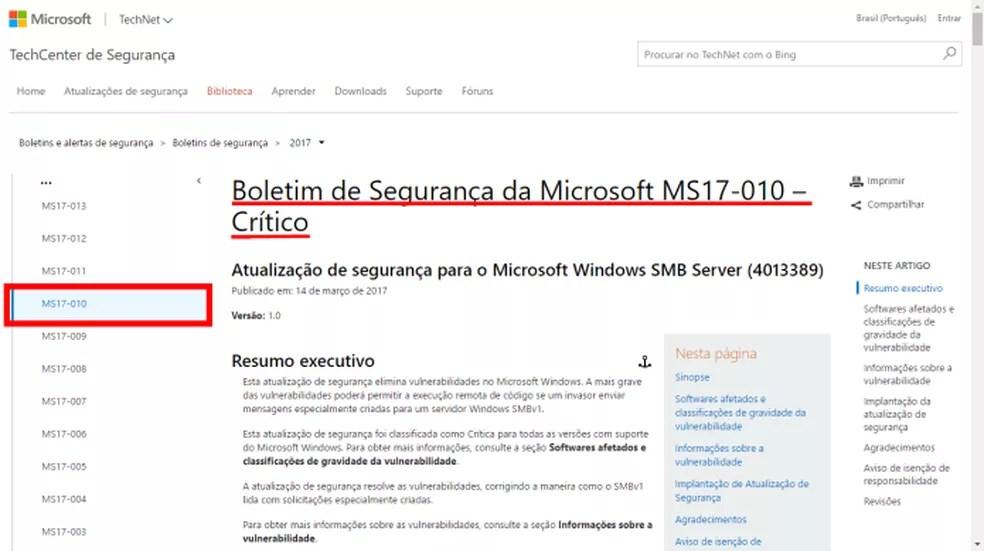 Página do patch de segurança da Microsoft contra o WannaCrypt (Foto: (Felipe Alencar/TechTudo))