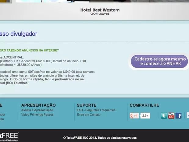 Site da Telexfree oferece dinheiro por anúncios grátis. (Foto: Reprodução/ Internet)