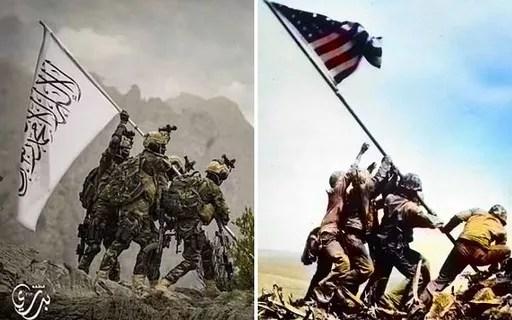 Talibã recria foto icônica dos EUA para marcar vitória na Segunda Guerra