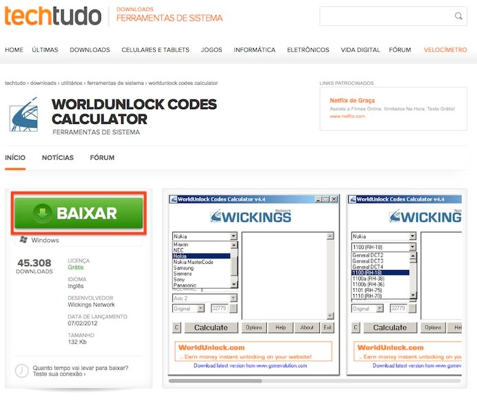 Download do WorldUnlock Codes Calculator (Foto: Reprodução)