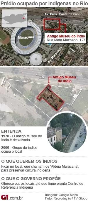 Mapa Rio de Janeiro - Museu do Índio no Maracanã atualizado. (Foto: Editoria de Arte / G1)