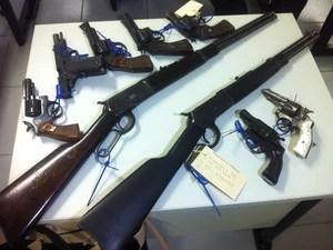 """Durante Operação """"Ultimato"""", nove armas foram apreendidas. (Foto: Diego Souza/G1)"""