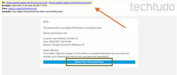E-mail falso com remetente duvidoso em golpe de phishing de Apple ID (Foto: Reprodução / Melissa Cruz)