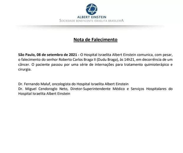 Death communiqué of Dudu Braga (Photo: Reproduction/ Instagram)