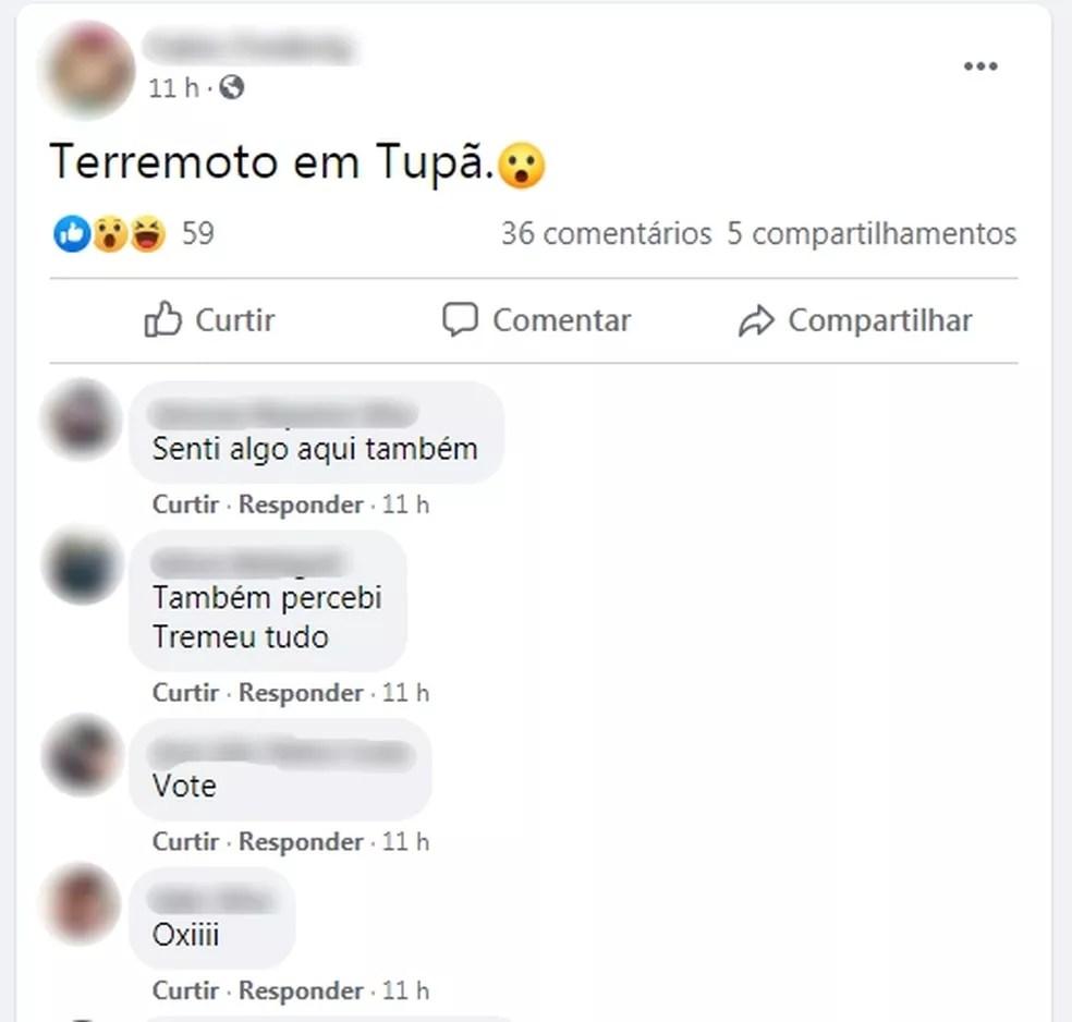 Moradores de Tupã falaram sobre o tremor nas redes sociais  — Foto: Facebook/ Reprodução