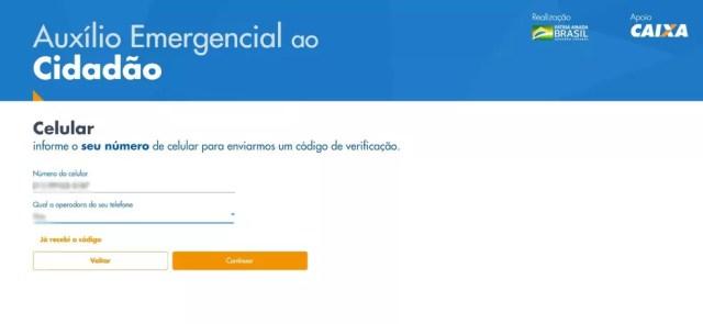 Página 4 para cadastro no programa de auxílio emergencial de R$ 600 no site da Caixa — Foto: Reprodução