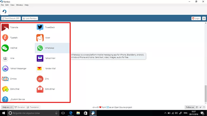 Escolha o serviço que deseja adicionar ao Rambo na tela inicial do app (Foto: Reprodução/Elson de Souza)