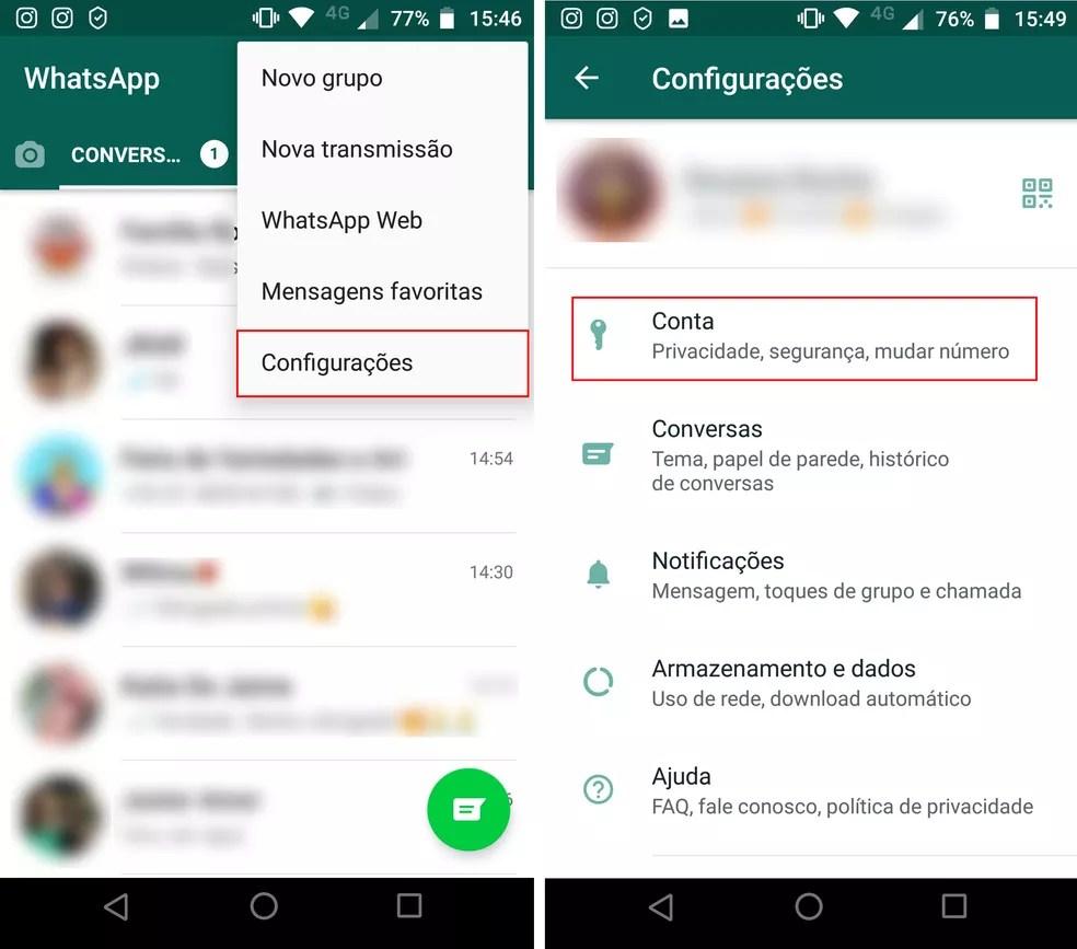 """Acessando  """"Configurações""""  e selecionando """"Conta"""" no WhatsApp pelo Android — Foto: Reprodução/Rodrigo Fernandes"""