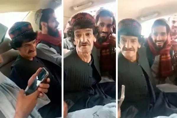 Comedian Nazar Mohammad between two Taliban (Photo: twitter reproduction)