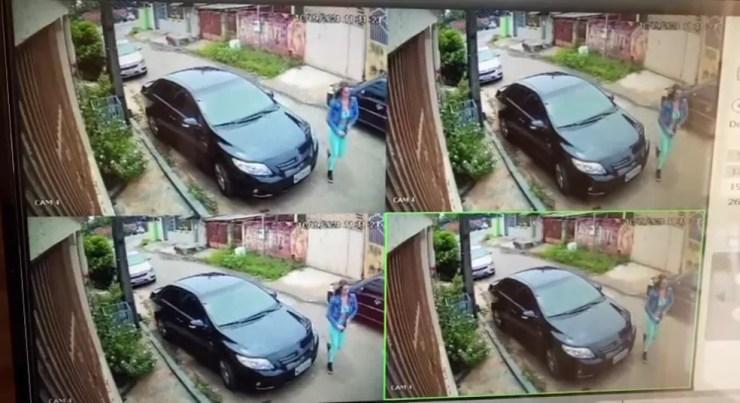 Policial saiu com a arma na mão e foi até o motorista que pediu passagem no Conjunto Tangará — Foto: Reprodução