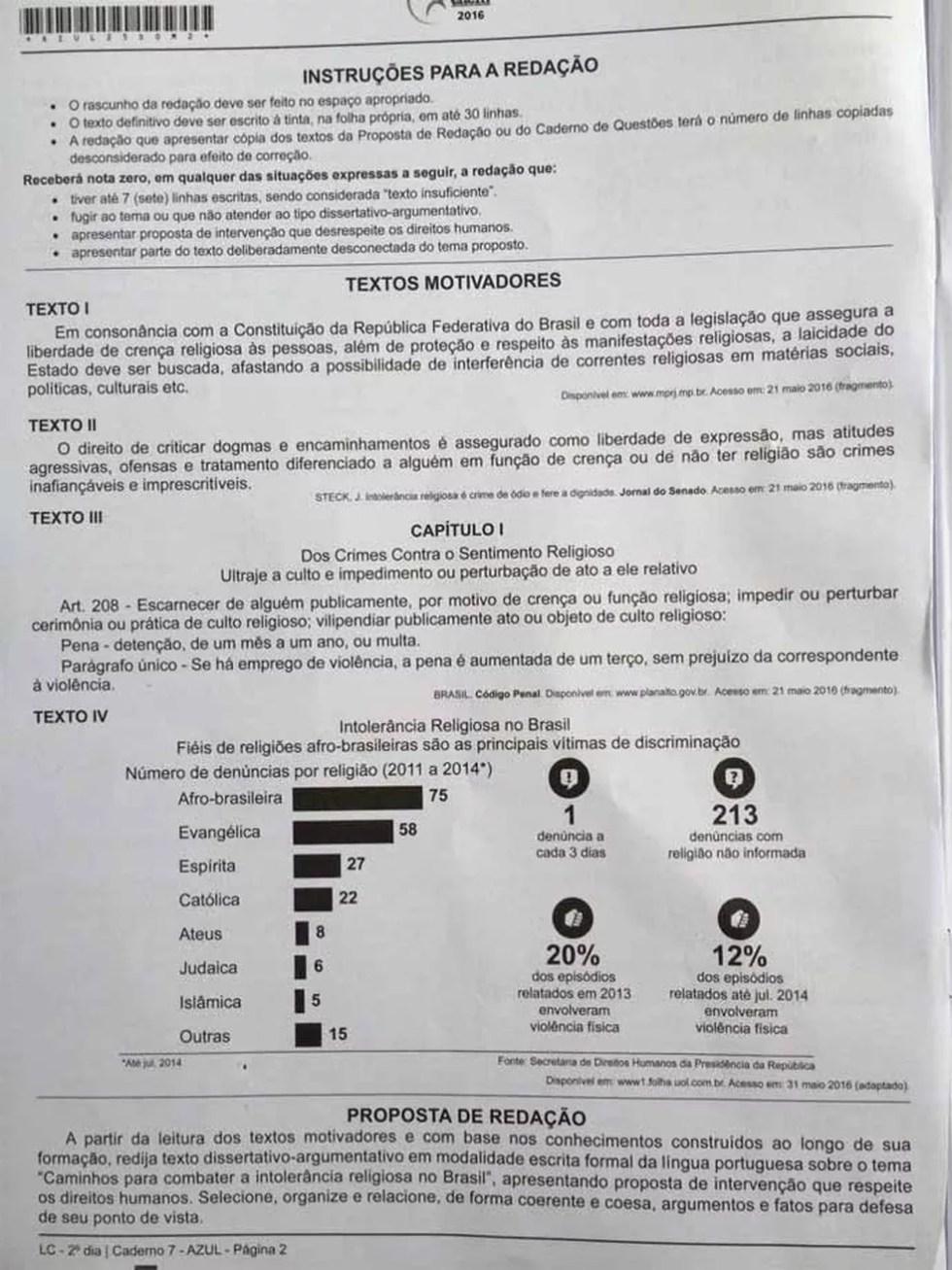 Prova de redação do Enem 2016 teve como tema 'Caminhos para combater a intolerância religiosa no Brasil' (Foto: G1 )