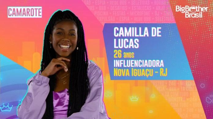 Camilla de Lucas é participante do'BBB21' — Foto: Divulgaço/Globo