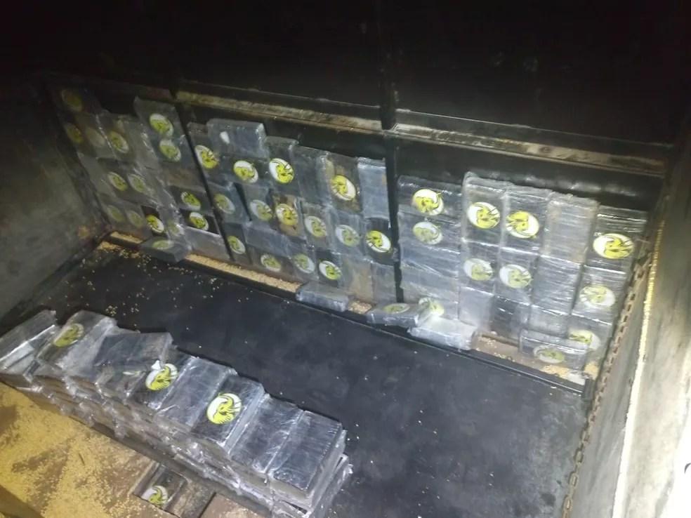 Droga foi encontrada em caminhão que seguia do MS para o Porto de Paranaguá — Foto: Cedida/Polícia Rodoviária