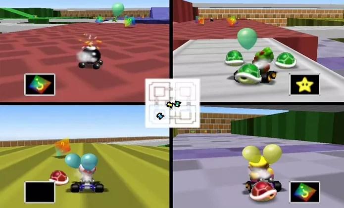Mario Kart 64 com 4 pessoas demonstrava o potencial do Nintendo 64 para multiplayer (Foto: Reprodução/YouTube) (Foto: Mario Kart 64 com 4 pessoas demonstrava o potencial do Nintendo 64 para multiplayer (Foto: Reprodução/YouTube))