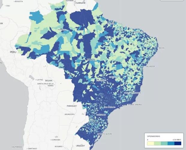 Mapa mostra a cobertura das operadoras de telefonia móvel no país. Quanto mais escuro, mais operadoras em funcionamento na mesma cidade; quanto mais claro, menos operadoras. (Foto: Reprodução/CartoDB)