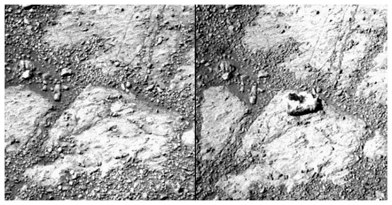Uma comparação entre duas fotos do mesmo local, do 3528 sol ao 3540 (sols são as medidas dos dias marcianos) - em teoria a formação apareceu em um intervalo de 12 dias marcianos (Foto: nasa/ caltech)