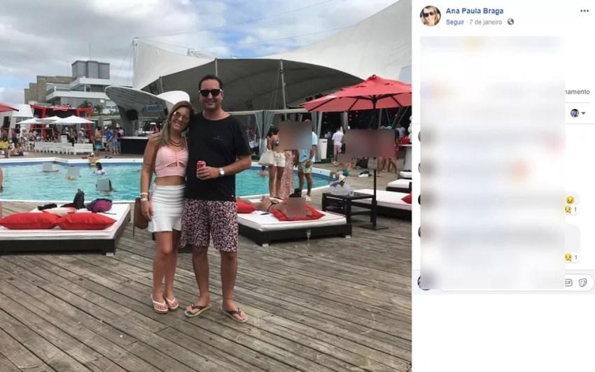 Ana Paula Braga e Dimas Argentin, durante viagem recente — Foto: Reprodução Rede Social