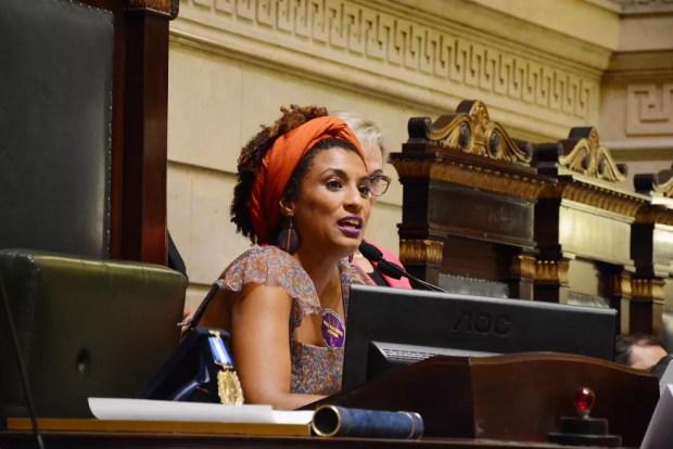 Marielle Franco, vereadora do PSOL, na Câmara do Rio em foto de 2017 (Foto: Renan Olaz/Câmara do Rio)