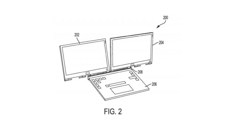 Ideia da Dell pode possibilitar o uso de duas telas num mesmo notebook — Foto: Reprodução/USPTO
