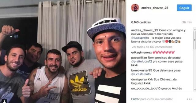 Chavez e Pratto instagram santos x são paulo (Foto: Reprodução/Instagram)