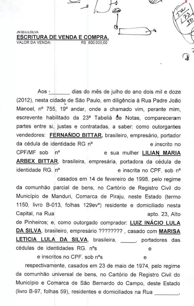 Minuta de contrato de venda do sítio em Atibaia para Lula pag.1 (Foto: Reprodução)